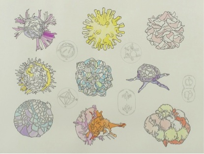 Cells by Lucy + Jorge Orta (2014) Materials: Pencil, pigment ink, watercolour on Fabriano paper
